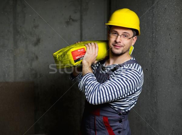 Foto stock: Constructor · bolsa · cemento · hombro · casa