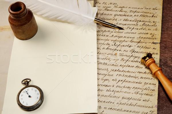 Vintage carta papel reloj arte pluma Foto stock © Nejron