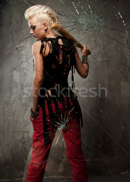 Punk girl behind broken glass. Stock photo © Nejron