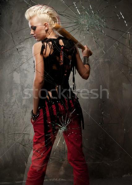 Punk kız arkasında kırık cam yüz boya Stok fotoğraf © Nejron