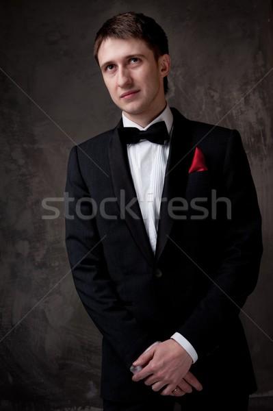 Jonge man smoking business glimlach man Stockfoto © Nejron