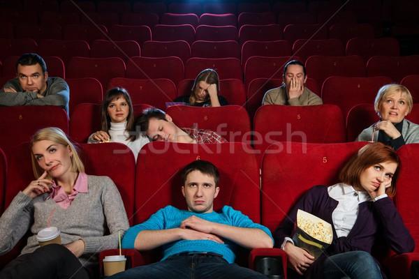 Grupy nudny ludzi oglądania film kina Zdjęcia stock © Nejron