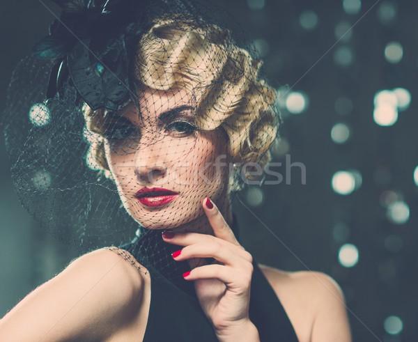 Elegancki blond retro kobieta mały Zdjęcia stock © Nejron