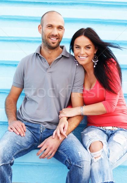 Gelukkig glimlachend paar buitenshuis glimlach Stockfoto © Nejron