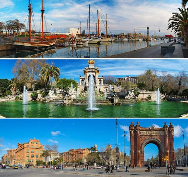 Set of three Barcelona attractions panoramas  Stock photo © Nejron