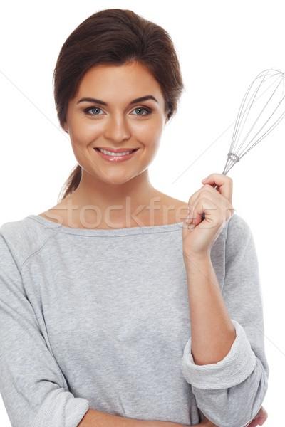 Fiatal nő habaró izolált fehér étel mosoly Stock fotó © Nejron