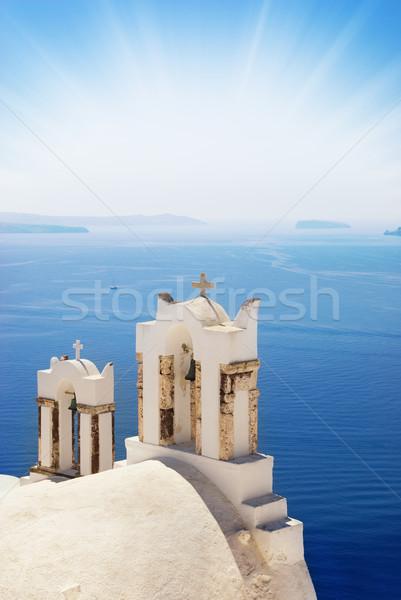 Kilise deniz santorini adası ada Yunanistan su Stok fotoğraf © Nejron