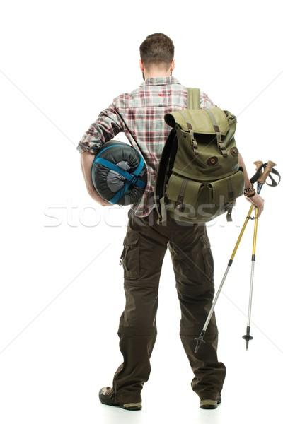 旅人 リュックサック ハイキング 寝 袋 男 ストックフォト © Nejron