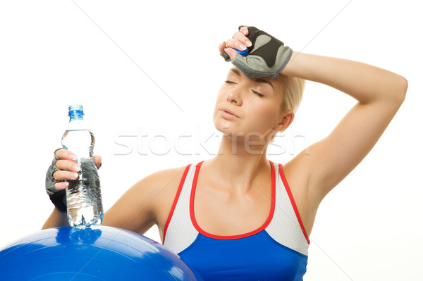 Woman with a bottle of water after training Stock photo © Nejron