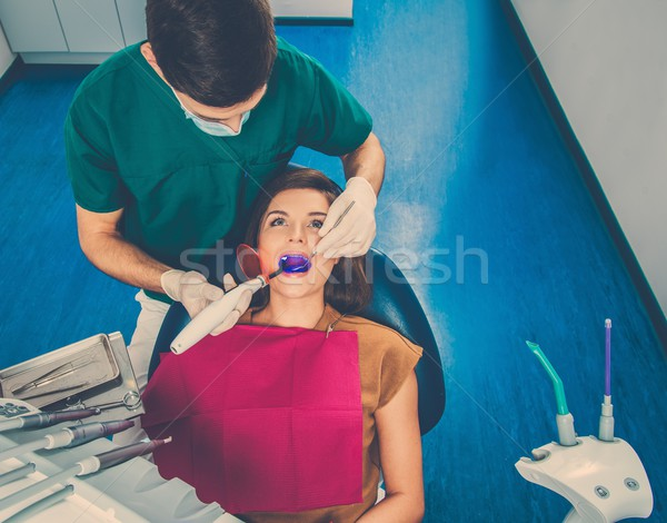 Young woman patient stopping treatment with dental UV light equipment Stock photo © Nejron