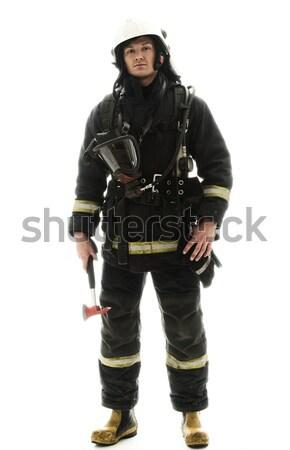 Stockfoto: Jonge · brandweerman · helm · bijl · geïsoleerd · witte