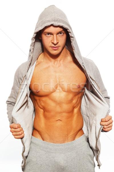 Bell'uomo grigio addominale muscoli uomo Foto d'archivio © Nejron