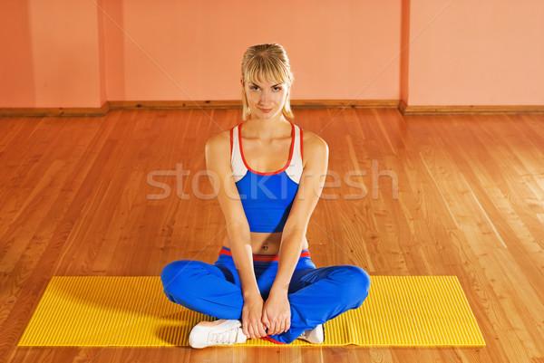 Fitness rilassante esercizio donna faccia Foto d'archivio © Nejron