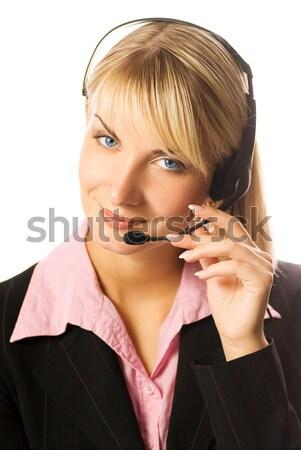 Barátságos forródrót kezelő nő internet munka Stock fotó © Nejron