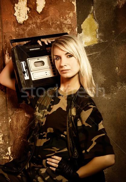 美しい 女性 兵士 レトロな 音楽プレーヤー 少女 ストックフォト © Nejron