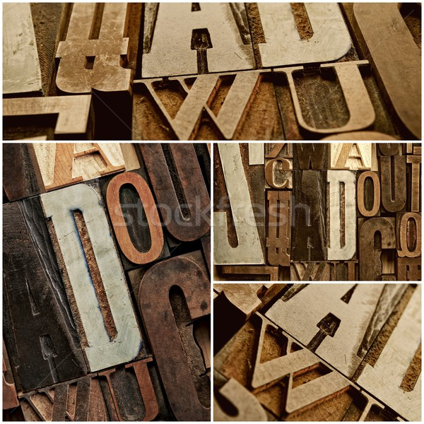 Vintage letter prints collage Stock photo © Nejron