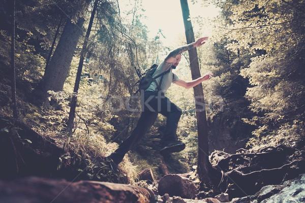Férfi természetjáró ugrik folyam hegy erdő Stock fotó © Nejron