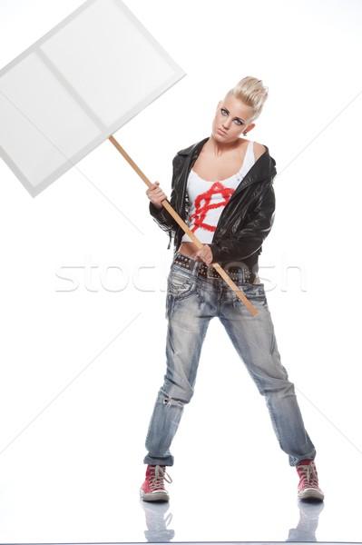 Punk nina mujer pintura rock Foto stock © Nejron