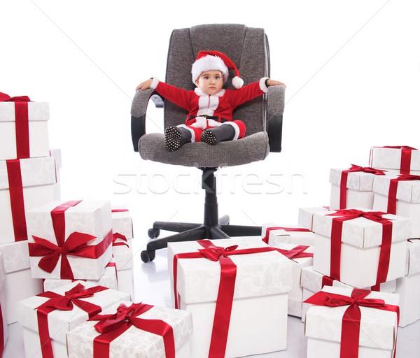 Bebê menino papai noel traje sessão cadeira de escritório Foto stock © Nejron