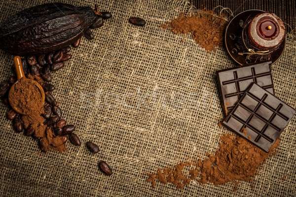 Coffee and cocoa theme still-life on sackcloth with copy-space  Stock photo © Nejron
