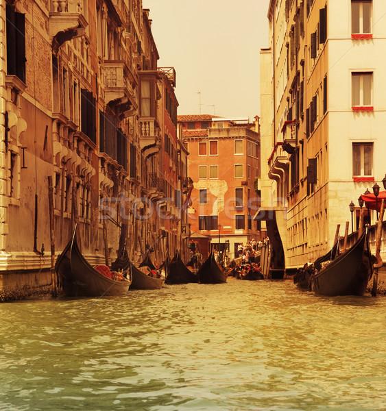 Traditioneel Venetië gondel water reizen zwarte Stockfoto © Nejron