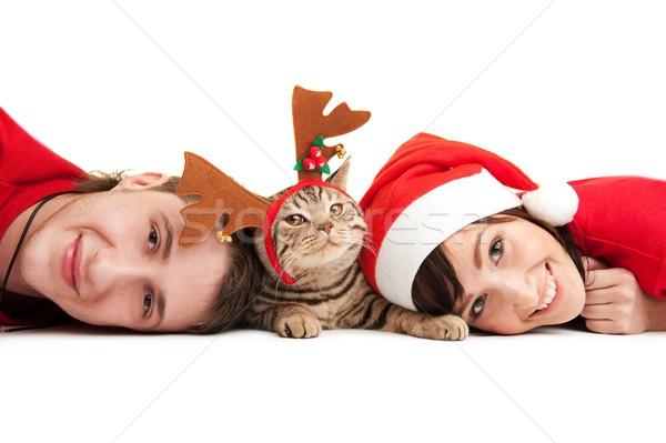 Happy couple with funny kitten Stock photo © Nejron