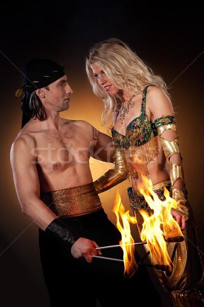 Fogo mostrar mulher cara amor casal Foto stock © Nejron