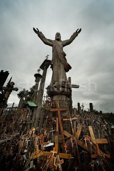 İsa heykel tepe çapraz gökyüzü arka plan Stok fotoğraf © Nejron
