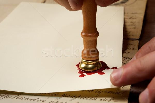Klasszikus viasz bélyeg papír művészet kommunikáció Stock fotó © Nejron