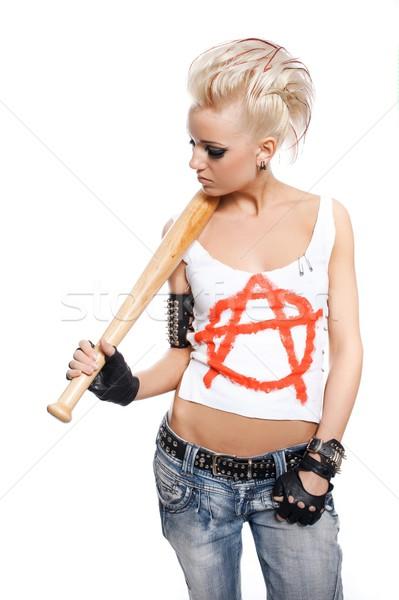 Punk ragazza bat donna faccia vernice Foto d'archivio © Nejron