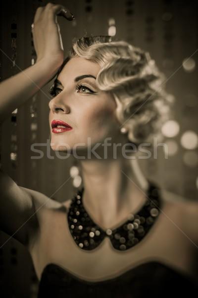 Elegant blond retro woman with beautiful hairdo and red lipstick Stock photo © Nejron