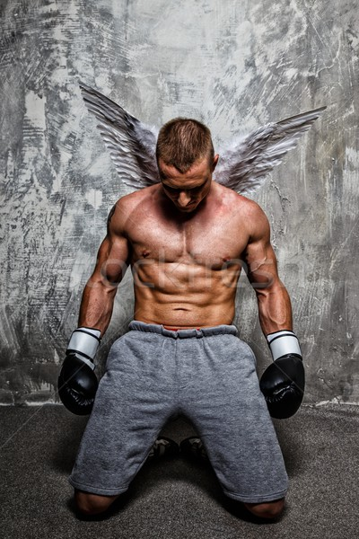 Young boxer with angel wings behind his back standing on his knee Stock photo © Nejron