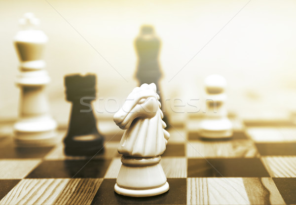 Game of chess toned in sepia Stock photo © Nejron