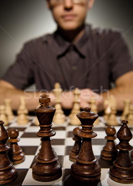 échecs maître pense déplacer peu profond Photo stock © Nejron