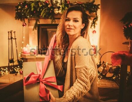 Belle jeune femme détente extérieur nuit femme Photo stock © Nejron