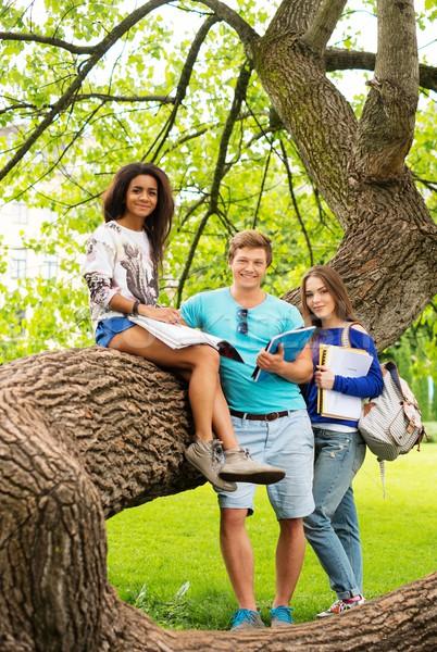 Grupo estudiantes final exámenes ciudad Foto stock © Nejron