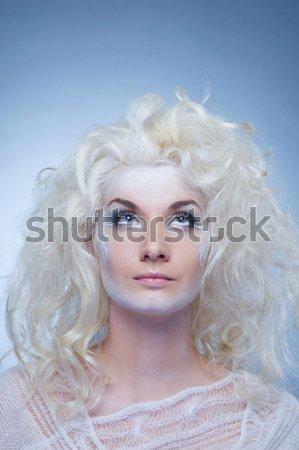 Foto stock: Neve · rainha · mulher · menina · beleza · pele