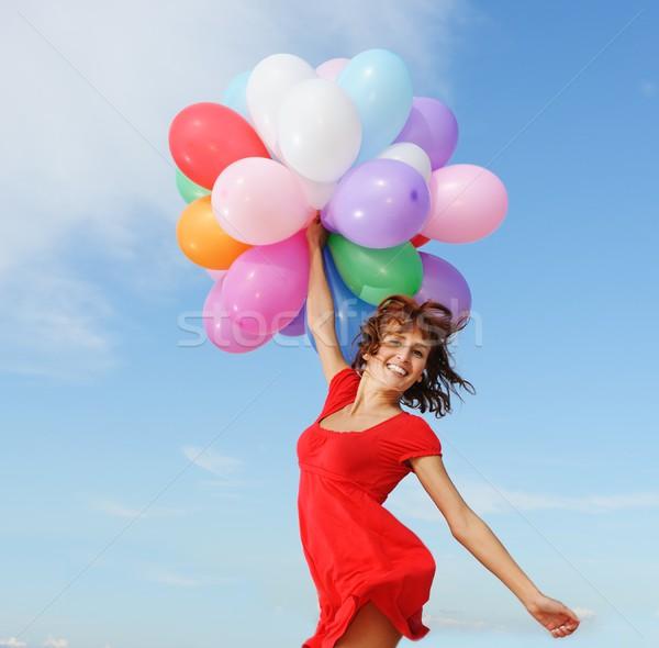 ストックフォト: 幸せな女の子 · 風船 · パーティ · 青 · 楽しい · 代