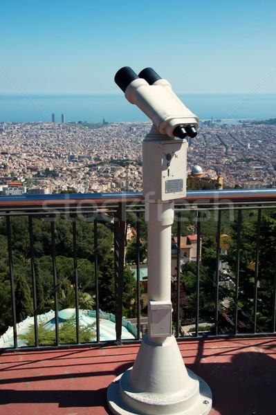 Panorámakép kilátás Barcelona város épület tenger Stock fotó © Nejron