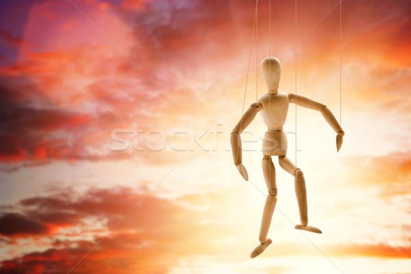 марионеточного человека древесины солнце закат Сток-фото © Nejron