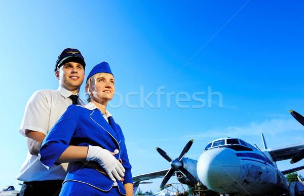 客室乗務員 カップル 女性 空 太陽 美 ストックフォト © Nejron