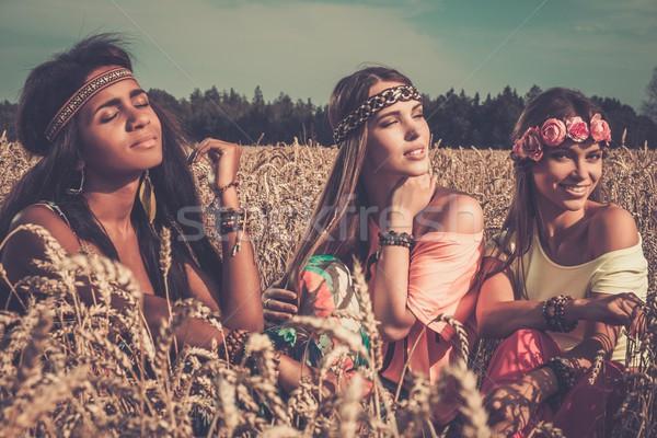Hippie meninas campo de trigo céu menina Foto stock © Nejron
