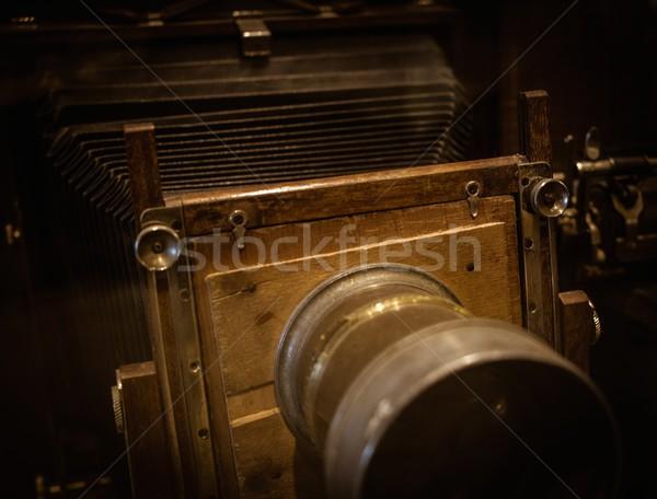 Retro wooden photo camera Stock photo © Nejron