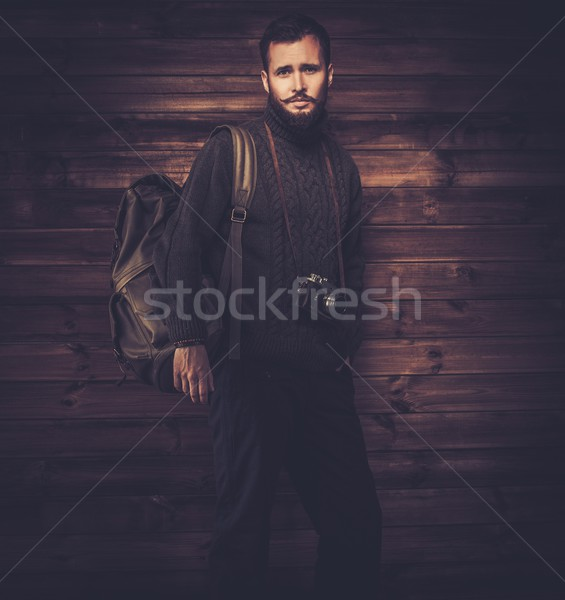 Homem bonito cardigã mochila casa Foto stock © Nejron