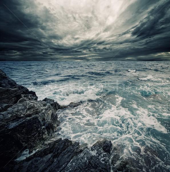 Ocean burzy plaży wody chmury charakter Zdjęcia stock © Nejron