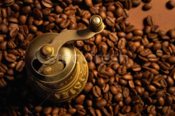 Stock photo: Coffee background with coffee mill.