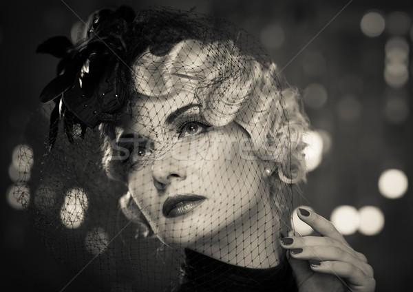Monokróm kép elegáns szőke retro nő Stock fotó © Nejron
