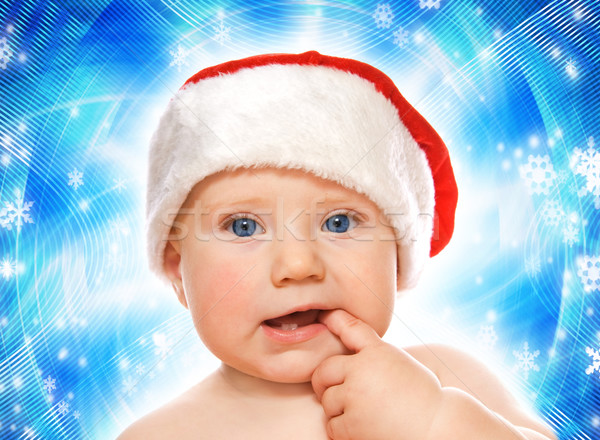 Adorable baby on abstract winter background Stock photo © Nejron