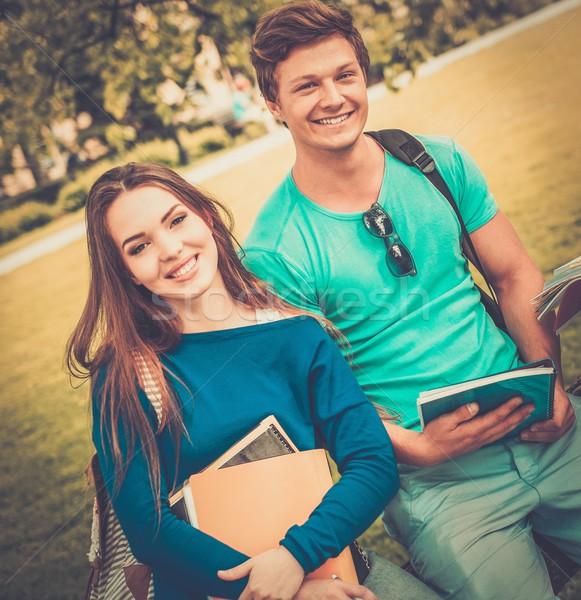 Estudiantes Pareja final exámenes ciudad parque Foto stock © Nejron