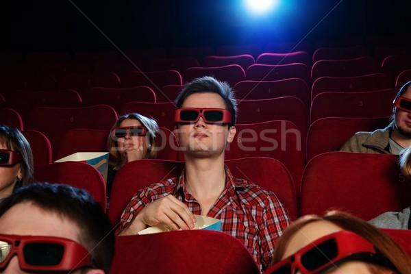 Photo stock: Personnes · lunettes · 3d · regarder · film · cinéma · femme